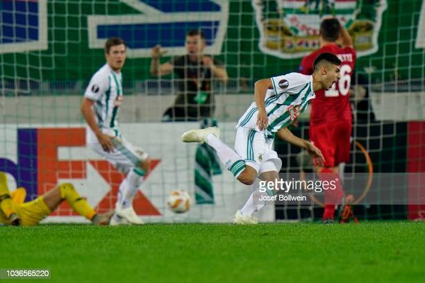 Mert Muelduer of Rapid celebrates after scoring a goal during the UEFA Europa League match between SK Rapid Wien v Spartak Moscow at Allianz Arena on...