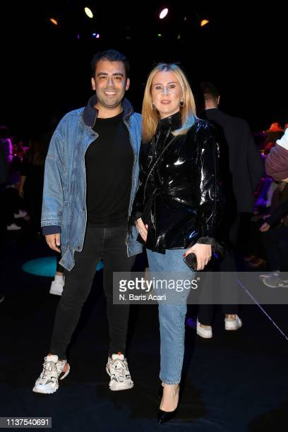 Mert Vidinli and Melis Ozer attend the Exquise show during MercedesBenz Fashion Week Istanbul March 2019 at Zorlu Center on March 22 2019 in Istanbul...