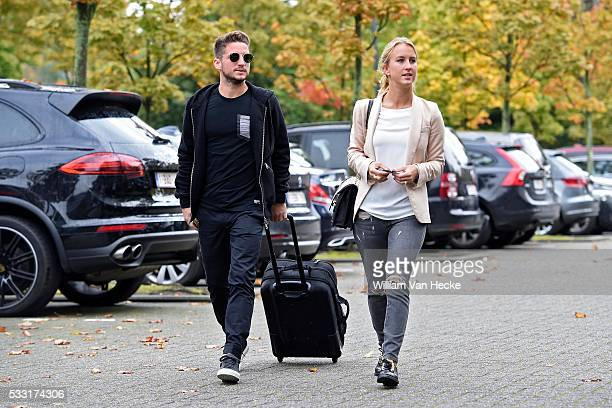 Mertens Dries of Belgium with his wife Katrin Kerkhofs pictured during arrival at the hotel of the National Soccer Team of Belgium as part of the...