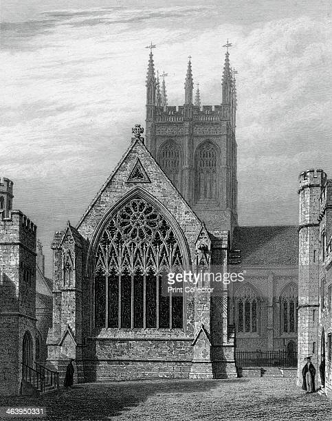 Merton College Chapel from the quadrangle Oxford 1834 The chapel was built between the 13th and 15th century