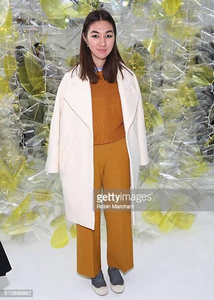 Meruyert Ibragim attends Delpozo during Fall 2016 New York Fashion Week at Pier 59 Studios on February 17, 2016 in New York City.