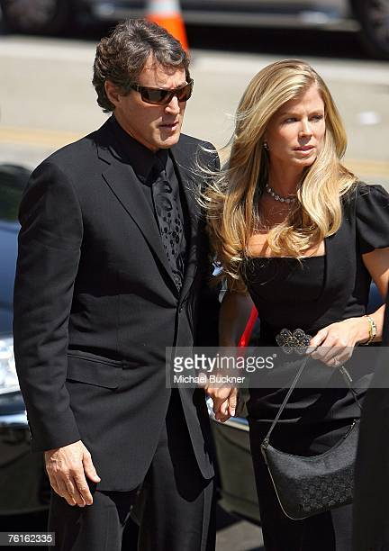 Merv Griffin's son Tony and his wife Tricia attend Merv Griffin's funeral ceremony held at The Church of the Good Shepherd on August 17 2007 in...