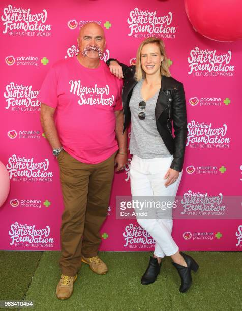Merv Hughes and Ellyse Perry pose during the launch of Misterhood for the Sisterhood campaign on May 29 2018 in Sydney Australia