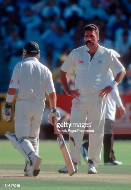 Merv Hughes and Gary Kirsten, South Africa v Australia, 2nd Test, Cape Town, Mar 94.