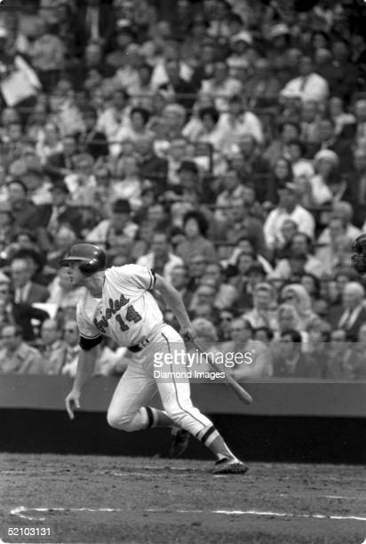 Merv Rettenmund of the Baltimore Orioles watches the flight of the ball he just hit during a World Series game against the Cincinnati Reds at...