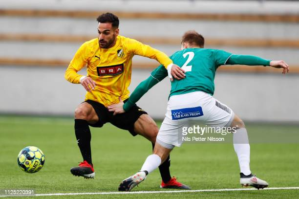 Mervan Celik of BK Hacken and Alexander Zetterstrom of IK Brage competes for the ball during the Svenska Cupen group stage match between BK Hacken...