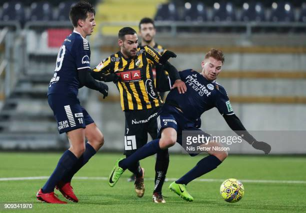 Mervan Celik of BK Hacken and Anton Henningsson of Utsiktens BK competes for the ball during the preseason friendly match between BK Hacken and...