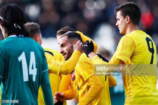 Mervan Celik of BK Hacken celebrates after scoring to 10 during the Svenska Cupen group stage match between BK Hacken and IK Brage at Bravida Arena...