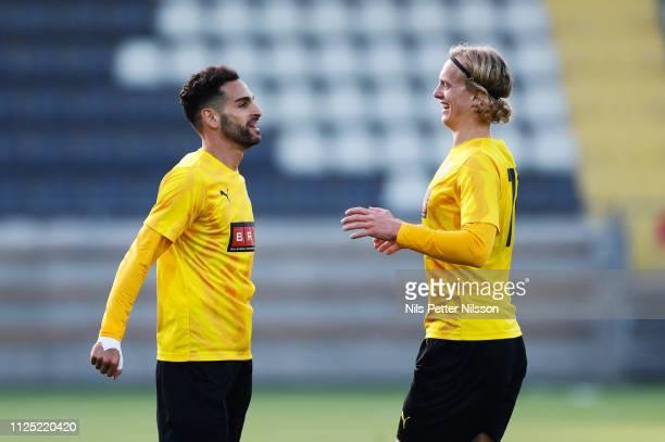 Mervan Celik of BK Hacken celebrates after scoring to 30 during the Svenska Cupen group stage match between BK Hacken and IK Brage at Bravida Arena...