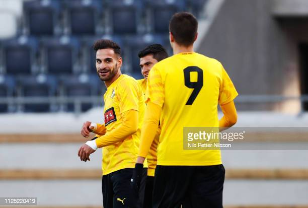 Mervan Celik of BK Hacken celebrates after scoring to 51 during the Svenska Cupen group stage match between BK Hacken and IK Brage at Bravida Arena...