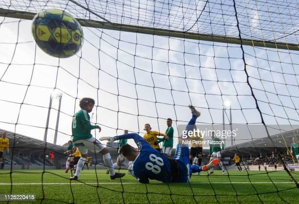Mervan Celik of BK Hacken scores the opening goal to to 10 during the Svenska Cupen group stage match between BK Hacken and IK Brage at Bravida Arena...