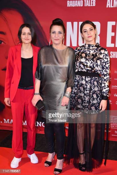 Merve Aksoy, Meral Perin and Almila Bagriacik attend the 'Nur eine Frau' premiere at Kino International movie theater on May 6, 2019 in Berlin,...