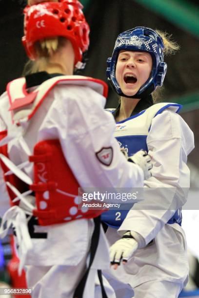 Merve Dincel of Turkey in action against Dominika Hronova of Czech Republic in the women's 49 kg category of the WTE European Taekwondo Championships...