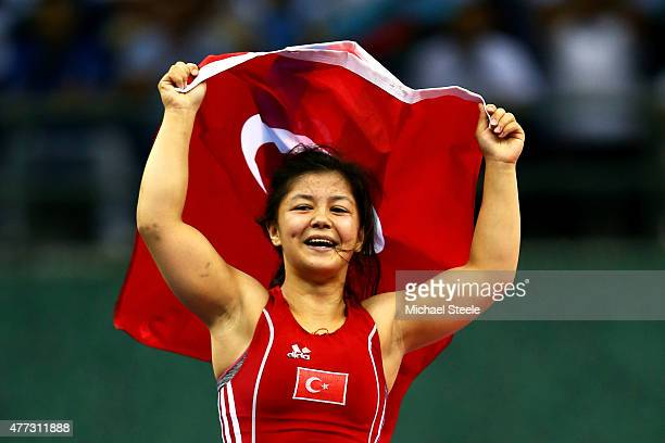 Merve Kenger of Turkey celebrates after winning the bronze medal in the Women's Wrestling 53kg Freestyle bronze final against Natalia Budu of Romania...