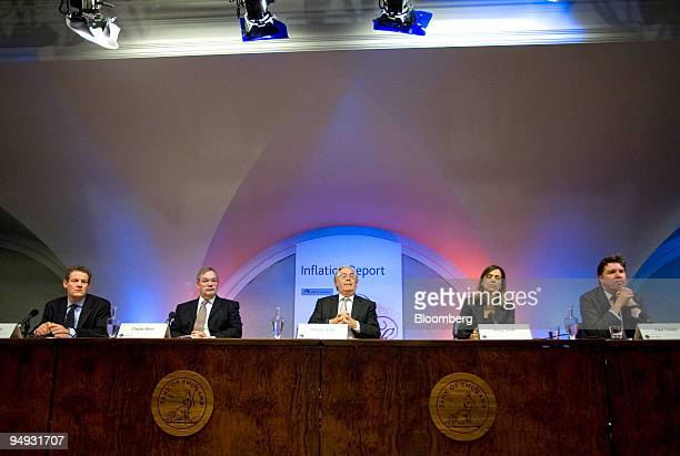 Mervyn King governor of the Bank of England center and members of the Monetary Policy Committee left to right Spencer Dale Charles Bean Jenny Scott...