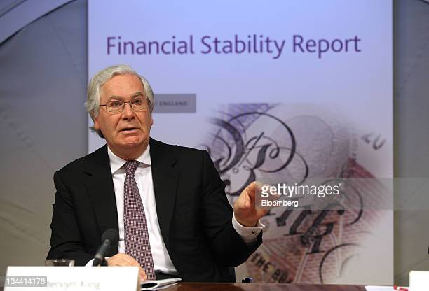 Mervyn King governor of the Bank of England speaks during a news conference at the Bank of England in London UK on Thursday Dec 2011 King urged banks...