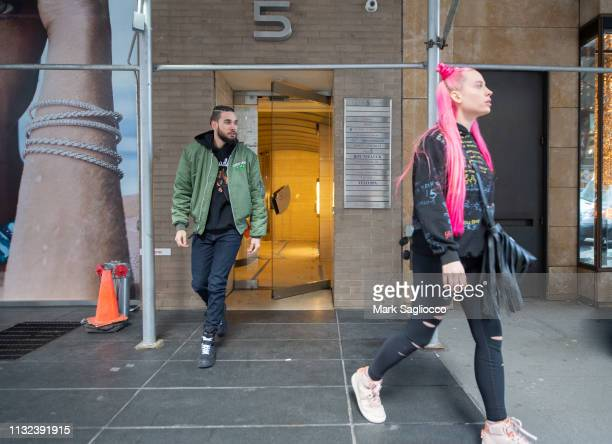 Mery Racauchi and Damaskus Ortiz are sighted leaving a recording studio on February 26 2019 in New York City