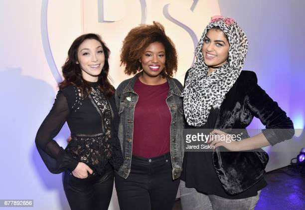Meryl Davis Akilah Hughes and Amani AlKhatahtbeh attend POPSUGAR 2017 Digital NewFront at Industria Studios on May 3 2017 in New York City