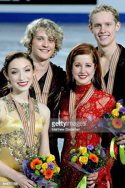 Meryl Davis and Charlie White of the United States and Emily Samuelson and Evan Bates of the United rpose for photographers after the Dance Free...
