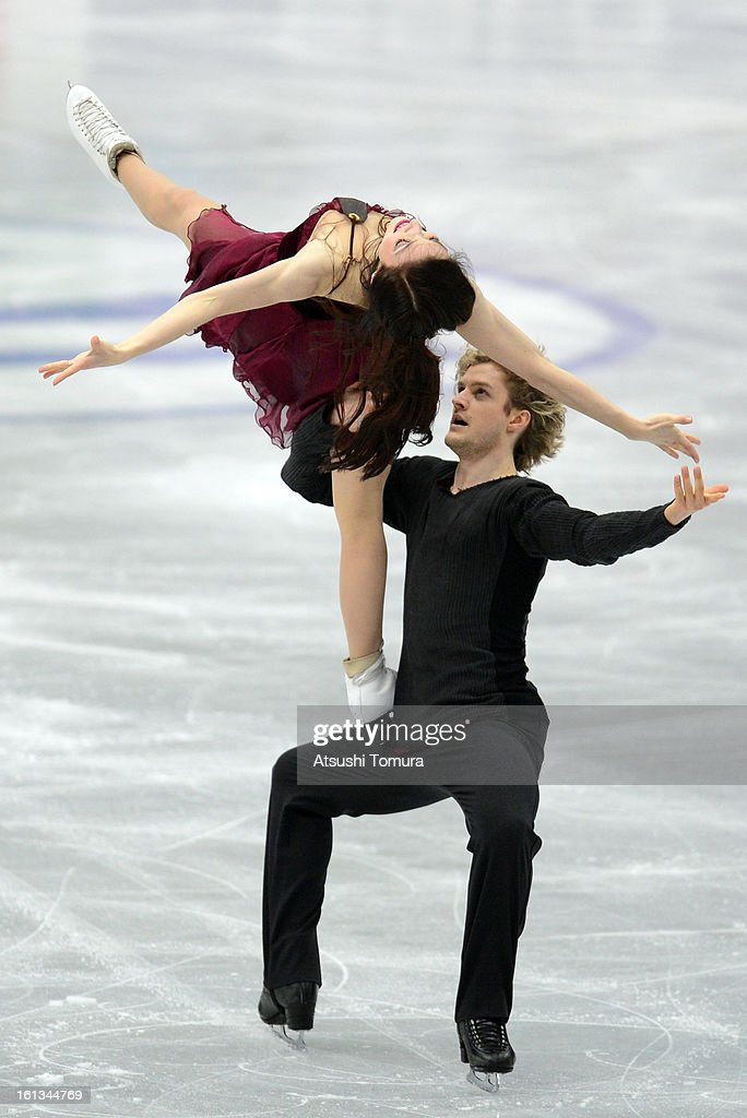 Meryl Davis and Charlie White of USA skate in the Ice Dance Free Dance during day three of the ISU Four Continents Figure Skating Championships at Osaka Municipal Central Gymnasium on February 10, 2013 in Osaka, Japan.