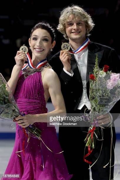 Meryl Davis and Charlie White pose for photographers after wining the Dance competition during the 2012 Prudential US Figure Skating Championships at...