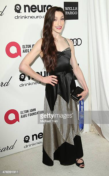 Meryl Davis arrives at the 22nd Annual Elton John AIDS Foundation's Oscar viewing party held on March 2 2014 in West Hollywood California