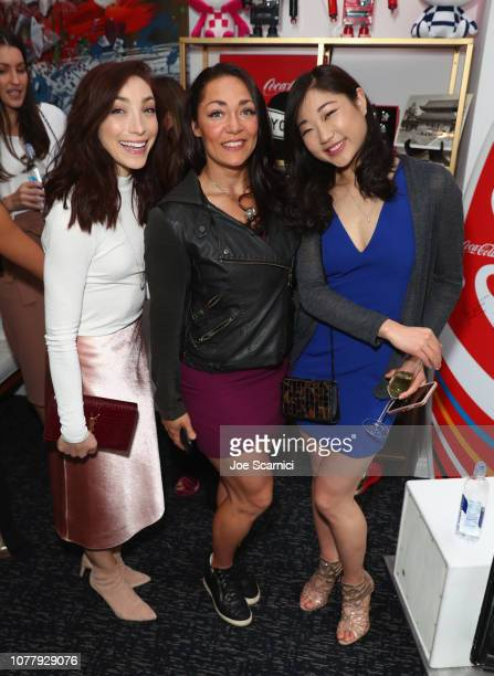 Meryl Davis Katie Uhlaender and Mirai Nagasu attend The 6th Annual Gold Meets Golden Brunch hosted by Nicole Kidman and Nadia Comaneci and presented...