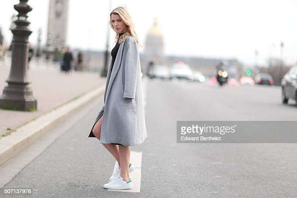 Meryl Denis wearing Top Shop shirt and skirt and Adidas shoes after the Maison Margiela show during Paris Fashion Week Haute Couture Spring Summer...