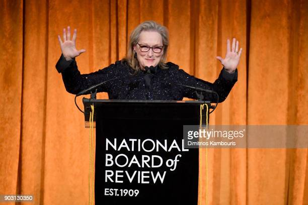 Meryl Streep accepts an award onstage during the National Board of Review Annual Awards Gala at Cipriani 42nd Street on January 9 2018 in New York...