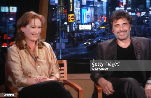 Meryl Streep and Al Pacino during HBO Presentation at Television Critics Association at Renaissance Hotel in Hollywood California United States