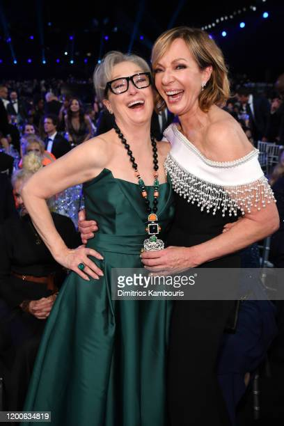 Meryl Streep and Allison Janney attend the 26th Annual Screen ActorsGuild Awards at The Shrine Auditorium on January 19 2020 in Los Angeles...