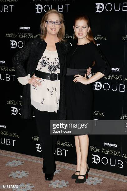 Meryl Streep and Amy Adams attend a photocall for their new film 'Doubt' at Claridges Hotel on January 16 2009 in London England