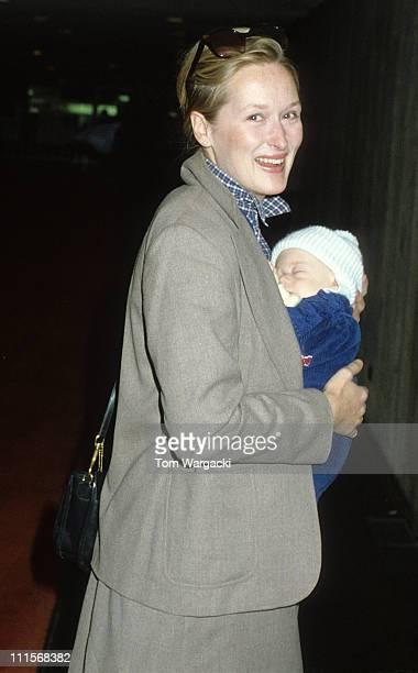 Meryl Streep and baby son Henry during Meryl Streep Sighting at JFK Airport January 9 1980 at JFK Airport in New York United States