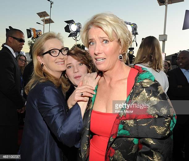 Meryl Streep and Emma Thompson attend the19th Annual Critics' Choice Movie Awards at Barker Hangar on January 16 2014 in Santa Monica California