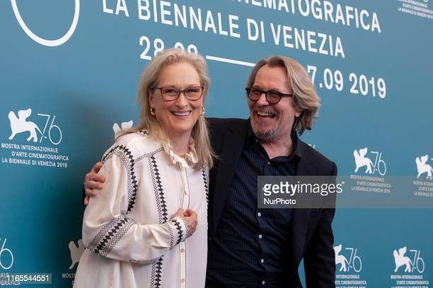 Meryl Streep and Gary Oldman attend 'The Laundromat' photocall during the 76th Venice Film Festival at Sala Grande on September 01, 2019 in Venice,...