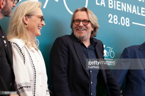 Meryl Streep and Gary Oldman attend ''The Laundromat'' photocall during the 76th Venice Film Festival at Sala Grande on September 01, 2019 in Venice,...