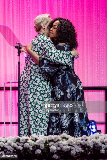 Meryl Streep and honoree Shonda Rhimes speak during the Planned Parenthood 100th Anniversary Gala at Pier 36 on May 2 2017 in New York City