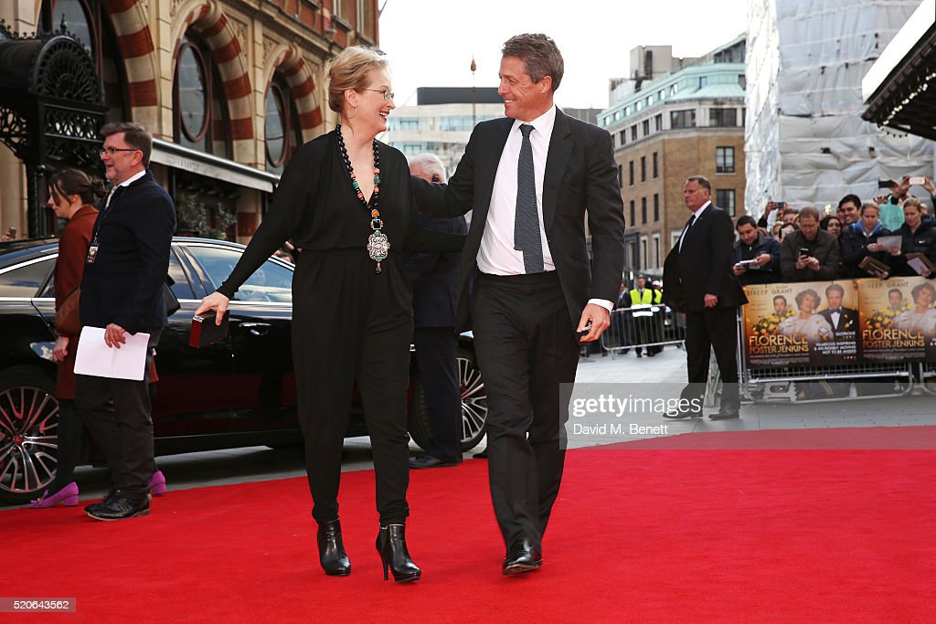 Meryl Streep (L) and Hugh Grant arrive for the UK film premiere Of 'Florence Foster Jenkins' at Odeon Leicester Square on April 12, 2016 in London, England.