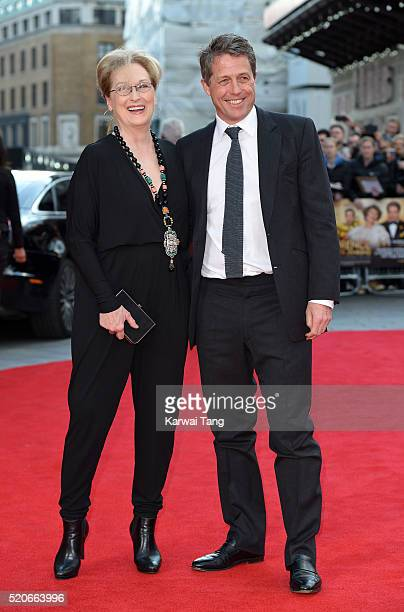 "Meryl Streep and Hugh Grant arrive for the UK film premiere of ""Florence Foster Jenkins"" at Odeon Leicester Square on April 12, 2016 in London,..."