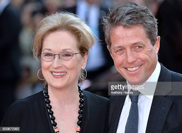 "Meryl Streep and Hugh Grant attend the World film premiere of ""Florence Foster Jenkins"" at Odeon Leicester Square on April 12, 2016 in London,..."