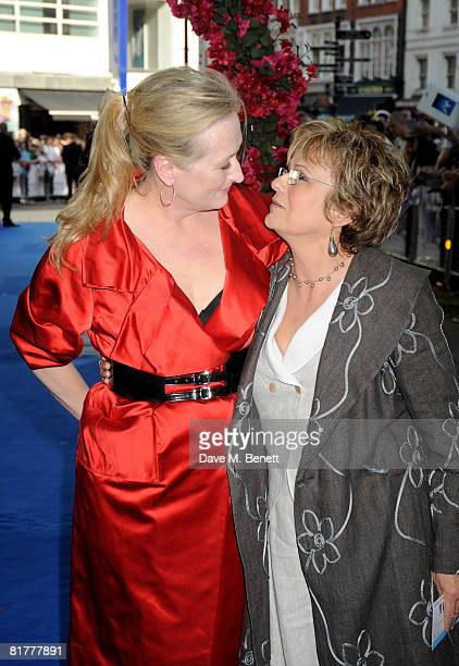 Meryl Streep and Julie Walters arrive at the UK film premiere of Mamma Mia the Movie at the Odeon Leicester Square on June 30 2008 in London England