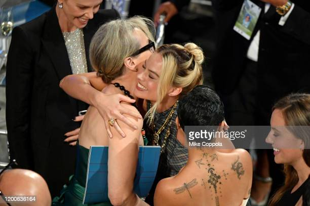 Meryl Streep and Margot Robbie attend the 26th Annual Screen ActorsGuild Awards at The Shrine Auditorium on January 19 2020 in Los Angeles...