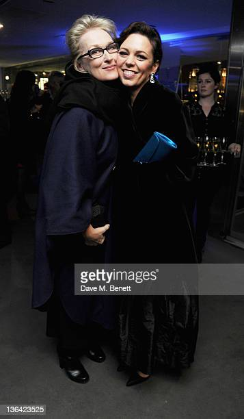 Meryl Streep and Olivia Colman attends the After party for The Iron Lady at Thames Riverside on January 4 2012 in London England