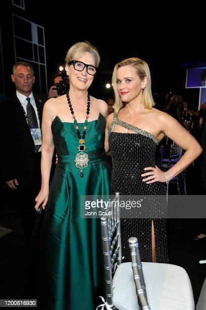Meryl Streep and Reese Witherspoon attend the 26th Annual Screen Actors Guild Awards at The Shrine Auditorium on January 19 2020 in Los Angeles...