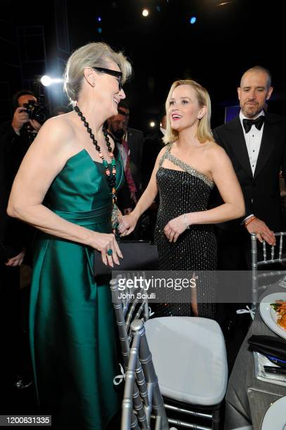 Meryl Streep and Reese Witherspoon attend the 26th Annual Screen ActorsGuild Awards at The Shrine Auditorium on January 19 2020 in Los Angeles...