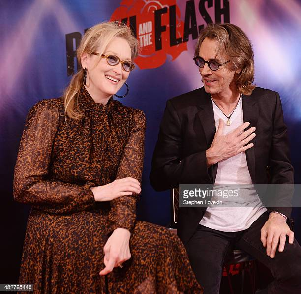Meryl Streep and Rick Springfield attend the 'Ricki And The Flash' cast photo call at Ritz Carlton Hotel on August 2 2015 in New York City