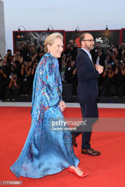 Meryl Streep and Steven Soderbergh walk the red carpet ahead of the The Laundromat screening during the 76th Venice Film Festival at Sala Grande on...