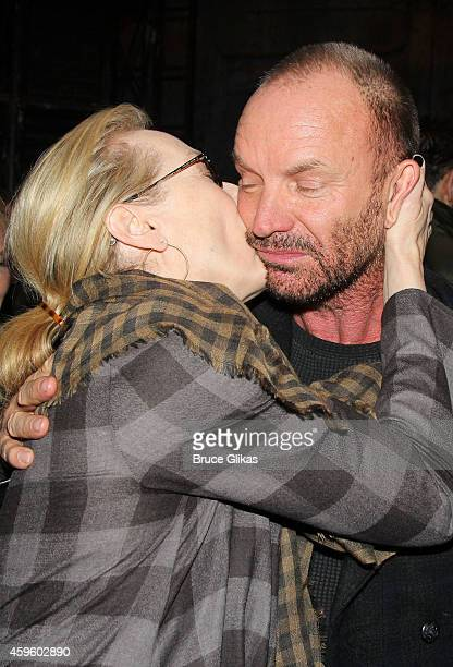 Meryl Streep and Sting backstage at the hit musical The Last Ship on Broadway at The Neil Simon Theater on November 25 2014 in New York City
