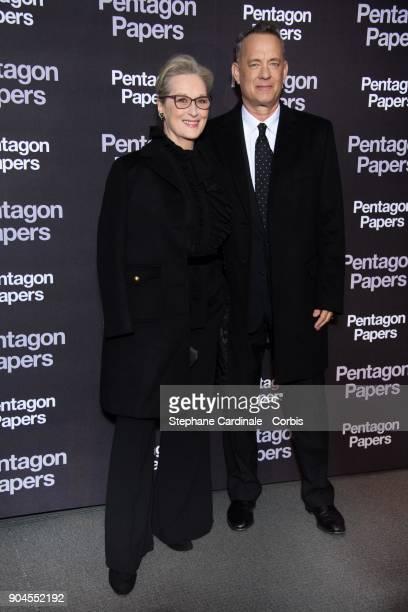 Meryl Streep and Tom Hanks attend 'Pentagon Papers' Premiere at Cinema UGC Normandie on January 13 2018 in Paris France