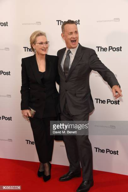 Meryl Streep and Tom Hanks attend the European Premiere of 'The Post' at Odeon Leicester Square on January 10 2018 in London England
